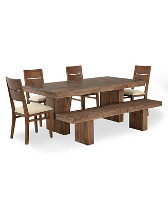 Champagne Dining Room Furniture 6 Piece Set Dining Table 4 Side Chairs And