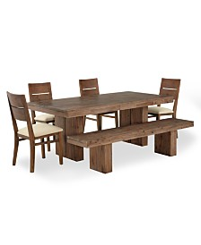 Champagne Dining Room Furniture 6 Piece Set Trestle Table 4 Side Chairs