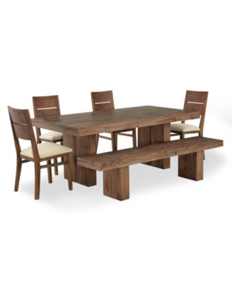 Champagne Dining Room Furniture, 6 Piece Set (Dining Trestle Table, 4 Side  Chairs