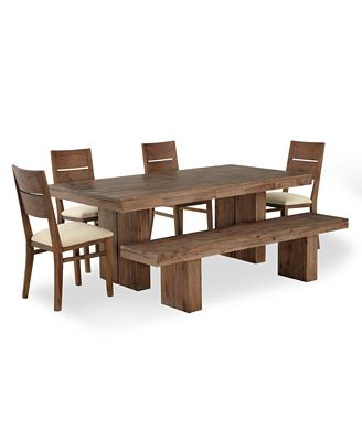 champagne dining room furniture, 6 piece set (dining trestle table