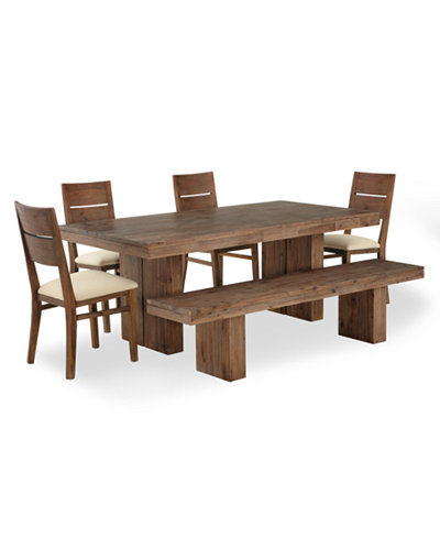 Champagne Dining Room Furniture, 6 Piece Set (Dining Trestle Table ...
