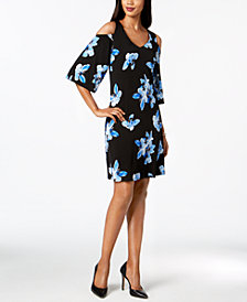 Connected Petite Floral-Print Cold-Shoulder Dress
