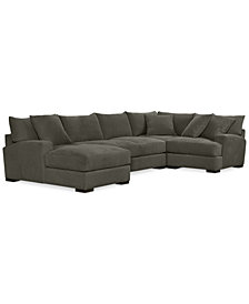 Rhyder 4-Pc. 80'' Fabric Sectional with Chaise - Custom Colors, Created for Macy's