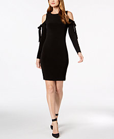 Calvin Klein Tied Cold-Shoulder Sheath Dress
