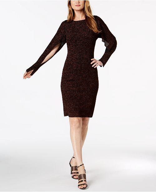 96363f8b Calvin Klein Split Dolman-Sleeve Sparkle Dress - Dresses - Women ...