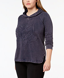 Style & Co Plus Size Cotton Embroidered Hoodie, Created for Macy's