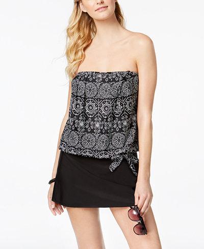 24th & Ocean Spot On Printed Side-Tie Bandeau Tankini Top & Tummy-Control Swim Skirt