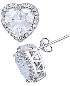 Giani Bernini Cubic Zirconia Halo Heart Stud Earrings in Sterling Silver, Created for Macy's