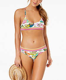 Trina Turk Key West Botanical Printed Strappy-Back Bikini Top & Hipster Bikini Bottoms