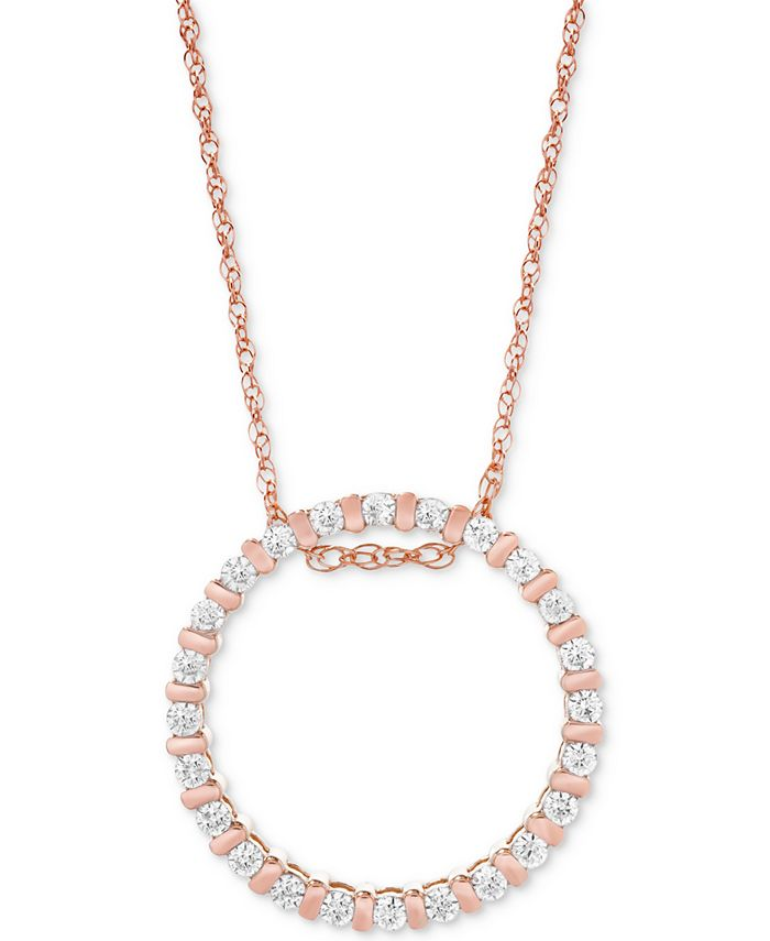 Macy's - Diamond Circle Pendant Necklace (1/4 ct. t.w.) in 14k Rose Gold