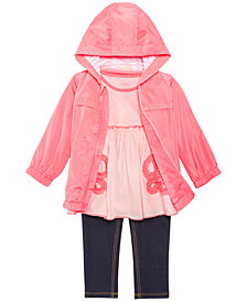 First Impressions Hooded Windbreaker, Bows Tunic & Denim Leggings, Baby Girls, Created for Macy's