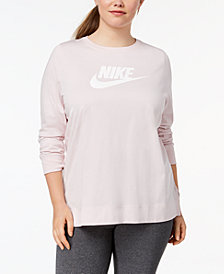 Nike Plus Size Sportswear Cotton Long-Sleeve T-Shirt