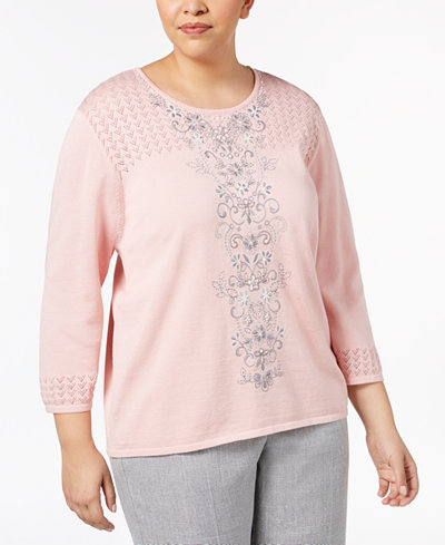Alfred Dunner Plus Size Lakeshore Drive Collection Embellished Pointelle-Knit Sweater
