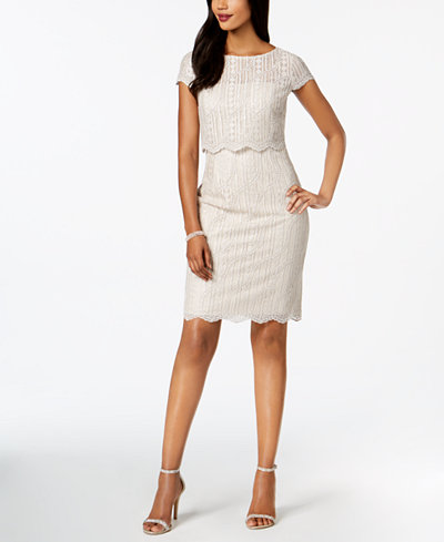 Adrianna Papell Sequined Lace Popover Dress