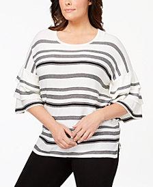 Calvin Klein Plus Size Ruffle-Sleeve Striped Sweater