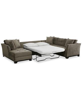 Elliot 3 Pc Microfiber Sectional With Full Sleeper Sofa
