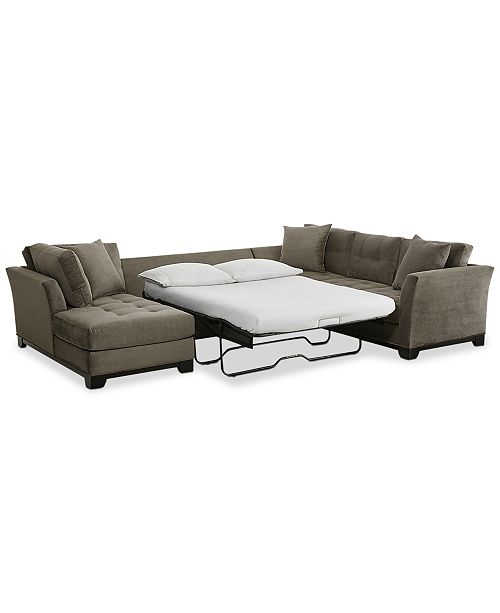 Elliot 3-Pc. Fabric Microfiber Sectional with Full Sleeper Sofa & Chaise ...