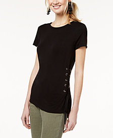 I.N.C. Lace-Up Jersey T-Shirt, Created for Macy's