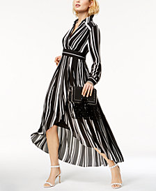 I.N.C. Striped Faux-Wrap High-Low Dress, Created for Macy's
