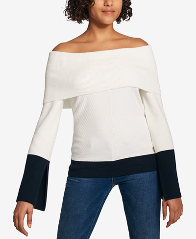 Tommy Hilfiger Colorblocked Off-The-Shoulder Sweater, Created for Macy's