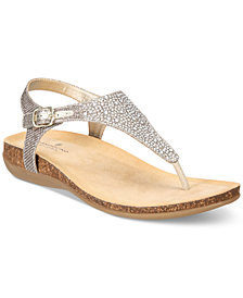 Bandolino Herby Embellished Thong Wedge Sandals