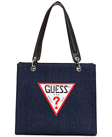 GUESS Varsity Pop Denim Logo Tote