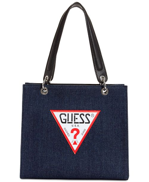 253123726117 GUESS Varsity Pop Denim Logo Tote - Handbags   Accessories - Macy s