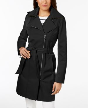PETITE HOODED ASYMMETRICAL TRENCH COAT