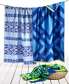 Martha Stewart Collection Geo Pattern Beach Towel Collection, Created for Macy's