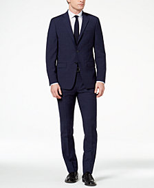 Calvin Klein Men's Slim-Fit Navy Plaid Suit