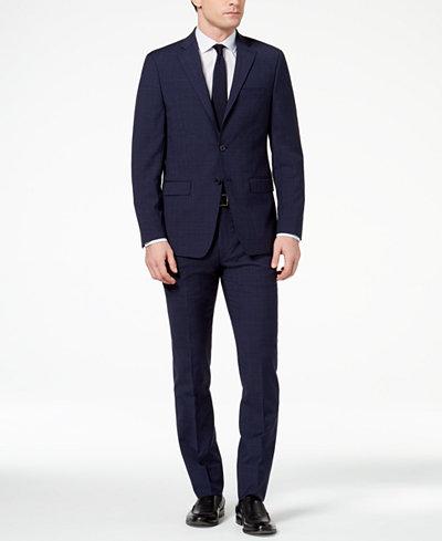 Calvin Klein Men's Slim-Fit Navy Plaid Suit