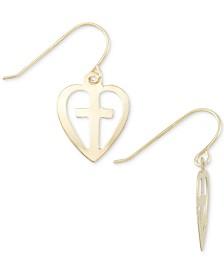 Cross Heart Drop Earrings in 10k Gold
