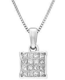 "Diamond Square Cluster 18"" Pendant Necklace (1/4 ct. t.w.) in 14k White Gold"