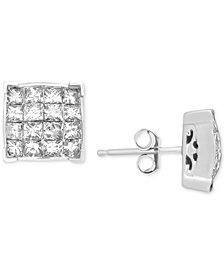 Diamond Square Cluster Stud Earrings (1-1/2 ct. t.w.) in 14k White Gold