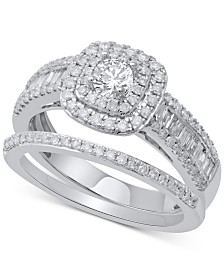Diamond Halo Bridal Set (1 ct. t.w.) in 14k White Gold
