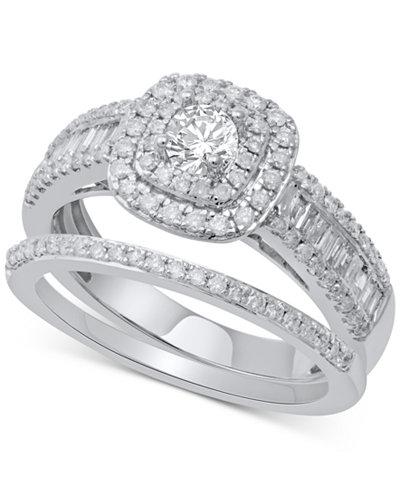 Diamond Halo Bridal Set (1 ct. t.w.) in 14k White Gold