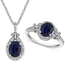 Lab Created Sapphire (2-1/2 ct. t.w.) & White Sapphire (3/4 ct. t.w.) Pendant Necklace & Ring in Sterling Silver