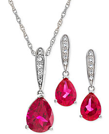Lab Created Ruby (3-1/4 ct. t.w.) & White Sapphire (1/5 ct. t.w.) Pendant Necklace & Drop Earrings in Sterling Silver