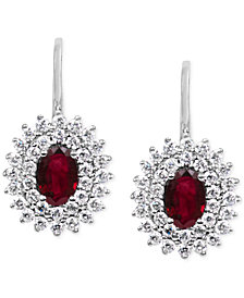 Ruby (1-1/5 ct. t.w.) & Diamond (5/8 ct. t.w.) Drop Earrings in 14k White Gold