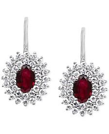Ruby (1-1/5 ct. t.w.) & Diamond (5/8 ct. t.w.) Drop Earrings in 14k White Gold