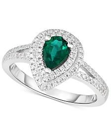 Emerald (5/8 ct. t.w.) & Diamond (1/3 ct. t.w.) Ring in 14k White Gold