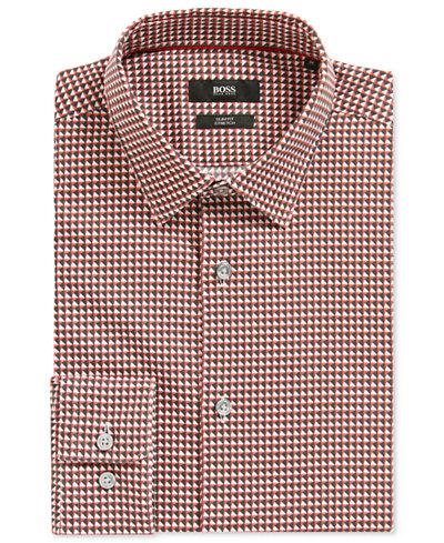BOSS Men's Slim-Fit Geometric Stretch Sport Shirt