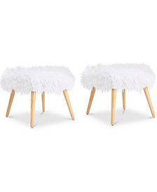 Lucee Faux Fur  Ottoman, Set Of 2, Quick Ship