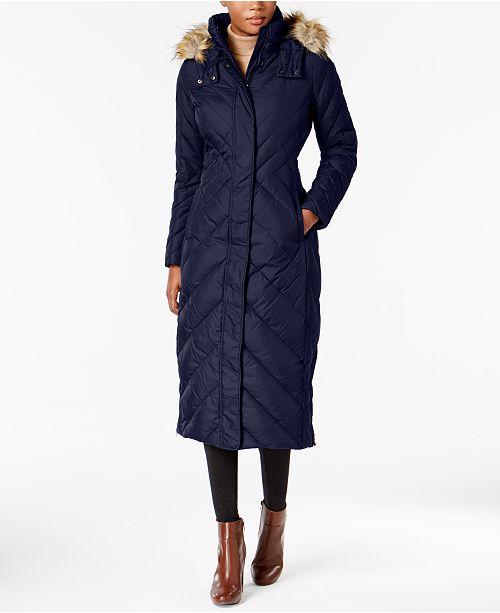 7fd905185069 Larry Levine Faux-Fur-Trim Maxi Puffer Coat   Reviews - Coats ...