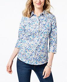 Karen Scott Petite Cotton Printed Button-Front Shirt, Created for Macy's