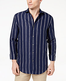 Tasso Elba Island Men's Bouclé Stripe Shirt, Created for Macy's