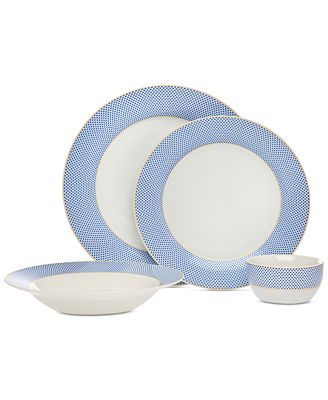 CLOSEOUT! Godinger Gustave 16-Pc. Blue/White Gold Banded Dinnerware Set, Service for 4