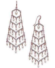 I.N.C. Silver-Tone Pavé & Imitation Pearl Chandelier Earrings, Created for Macy's