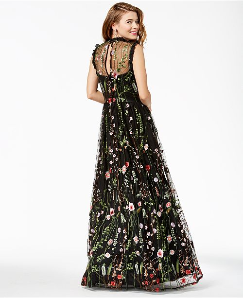City Studios Juniors Ruffle Trim Embroidered Gown Created For