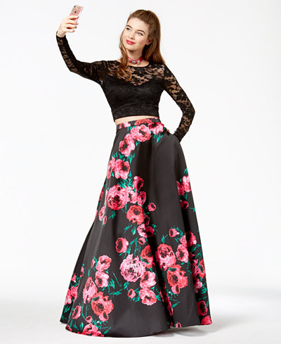 B Darlin Juniors' Lace Printed-Skirt 2-Pc. Gown, Created for Macy's